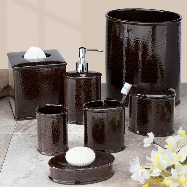 Crackle bath accessory collection 16193830 overstock for Black crackle bathroom accessories