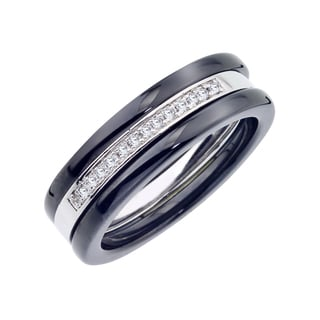 Black Ceramic and Sterling Silver 1/10ct TDW Diamond Triple Stacked Band (H-I, I2-I3)