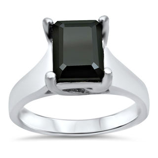 14k White Gold 1 3/4ct Emerald-cut Black Diamond Solitaire Engagement Ring (SI1-SI2)