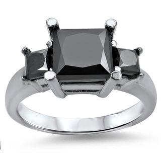Noori 14k White Gold 2 1/4ct TDW Princess-cut Black Diamond 3-stone Engagement Ring