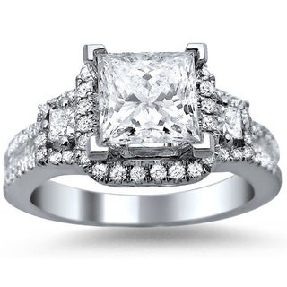 18k White Gold 1 3/5ct TDW Princess Cut, Baguette and Round-cut Certified Diamond Engagement Ring (G-H, SI1-SI2)