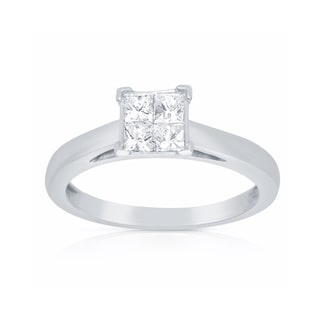 14k White Gold 1/2ct TDW Princess-cut Diamond Engagement Ring (G-H, I1-I2)