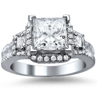 18k White Gold Enhanced 1 3/5ct TDW Princess-ct Certified Diamond Engagement Ring (G-H, SI1-SI2)