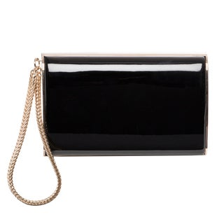 Jimmy Choo CARMEN PCW BLACK Carmen Patent Clutch with Chain Wristlet