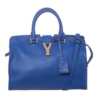 Saint Laurent 'Cabas' Small Cobalt Leather Tote Bag