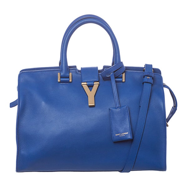 Saint Laurent 'Cabas' Small Cobalt Leather Tote Bag
