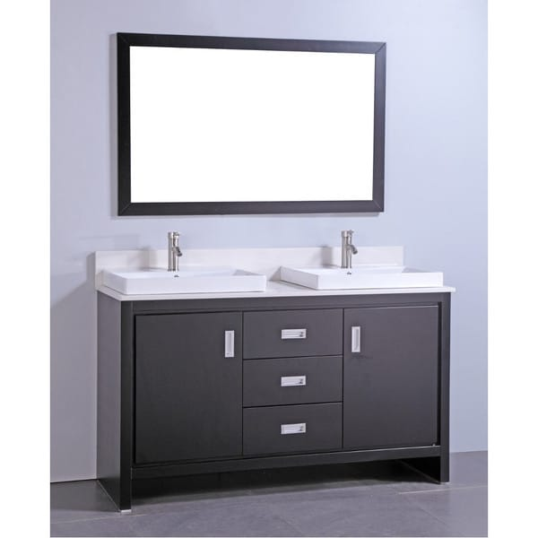 articial stone top 60 inch double sink bathroom vanity with matching