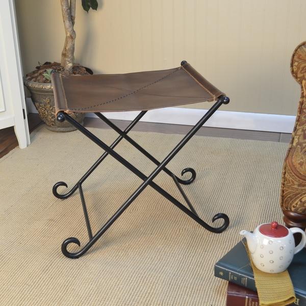 Alejandro Folding Leather Fireside Bench