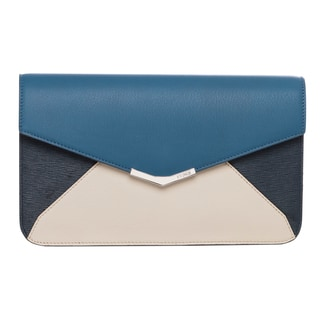 Fendi '2Jours' Small Blue/ Ivory Colorblock Clutch