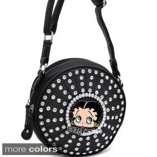 Betty Boop Rhinestone and Studded Cylinder Messenger Bag