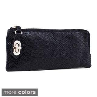 Black Snake-embossed Zip-around Fashion Wallet