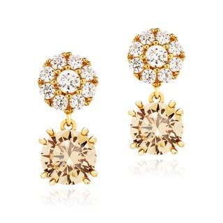 Blue Box Jewels Gold over Silver Cubic Zirconia Dangle Stud Earrings