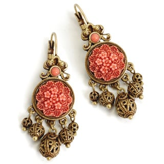 Sweet Romance 1940's Coral and Filigree Earrings