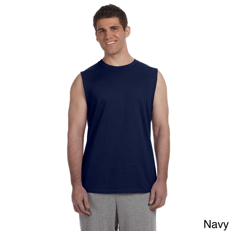 Gildan Gildan Mens Ultra Cotton Sleeveless T shirt Green Size XXL