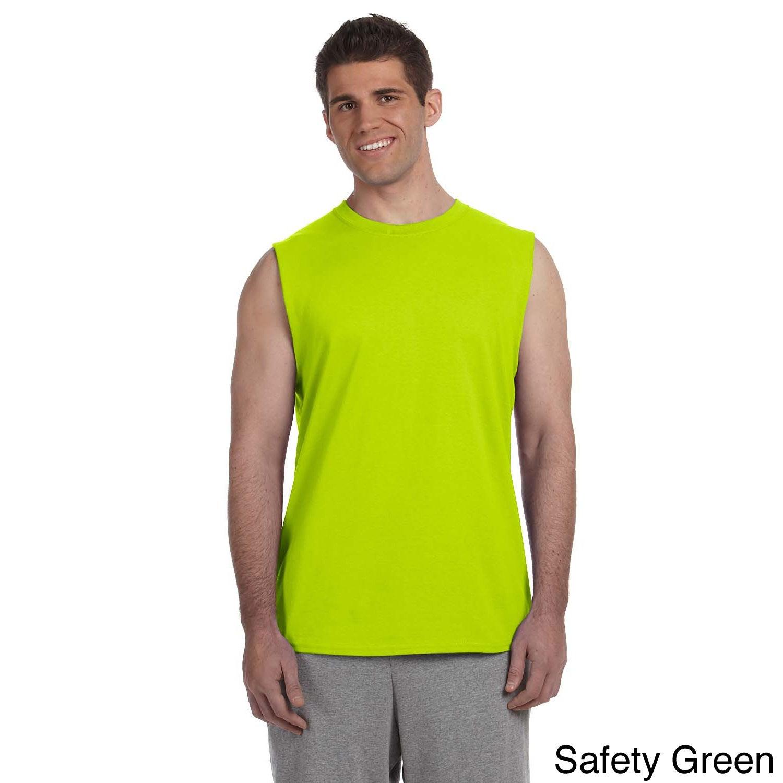 Gildan Gildan Mens Ultra Cotton Sleeveless T shirt Green Size L