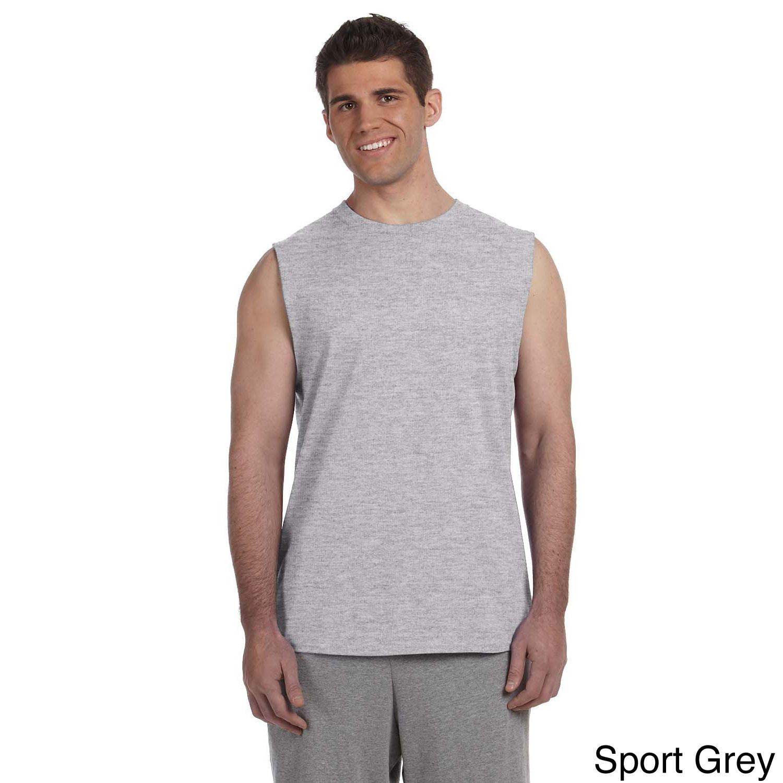 Gildan Gildan Mens Ultra Cotton Sleeveless T shirt Grey Size L