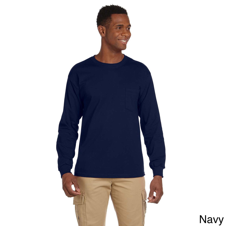 Gildan Gildan Mens Ultra Cotton Long Sleeve Pocket T shirt Navy Size XXL
