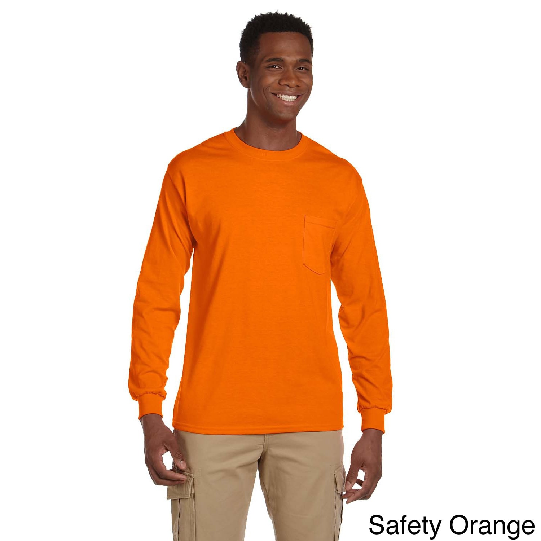 Gildan Gildan Mens Ultra Cotton Long Sleeve Pocket T shirt Orange Size XXL