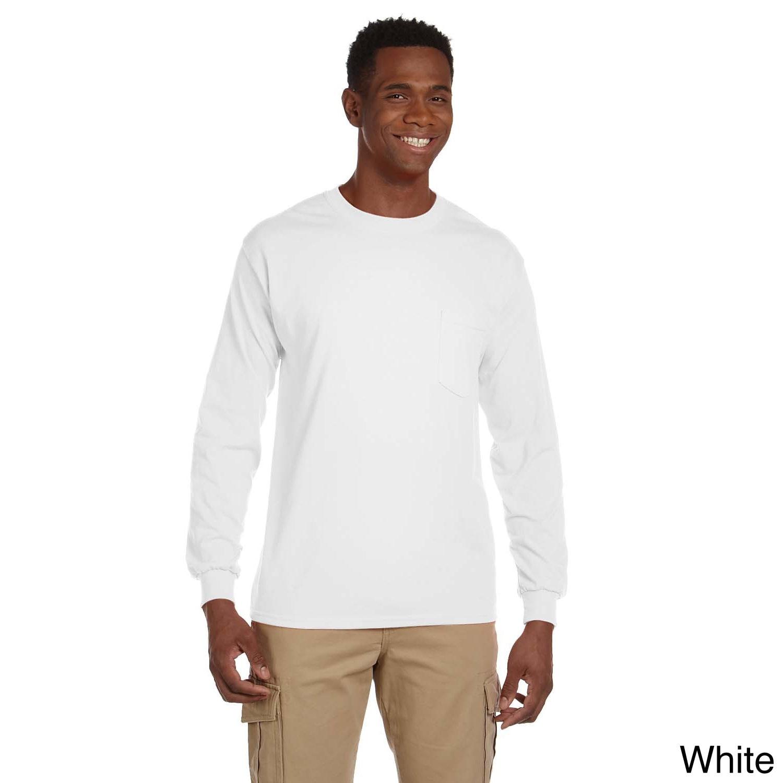 Gildan Gildan Mens Ultra Cotton Long Sleeve Pocket T shirt White Size 5XL
