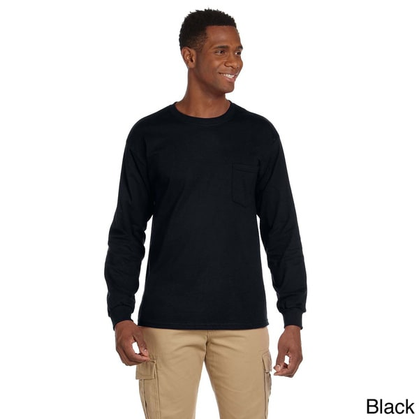 Gildan Men's Ultra Cotton Long Sleeve Pocket T-shirt 12853221