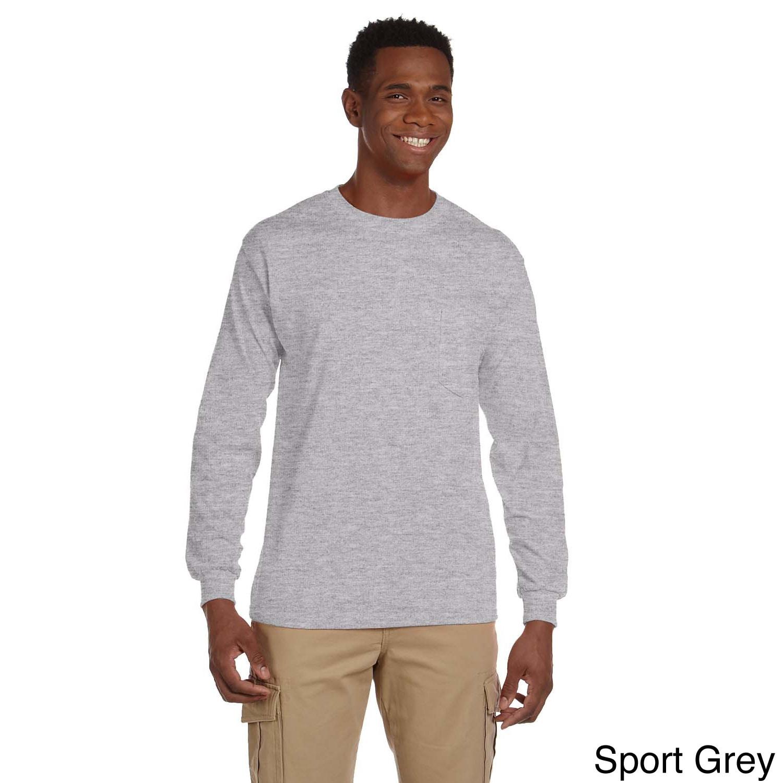 Gildan Gildan Mens Ultra Cotton Long Sleeve Pocket T shirt Grey Size XXL