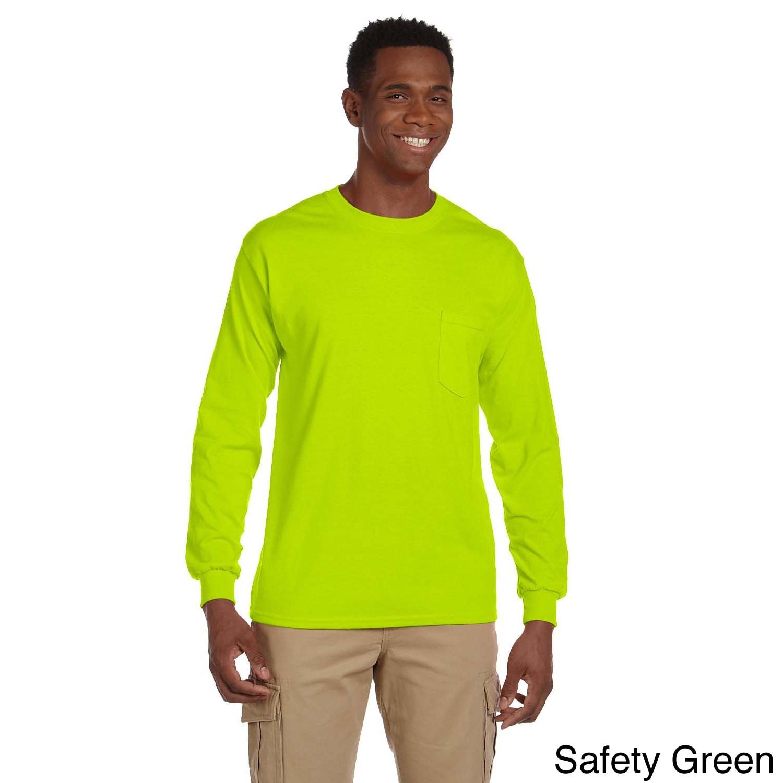 Gildan Gildan Mens Ultra Cotton Long Sleeve Pocket T shirt Green Size XXL