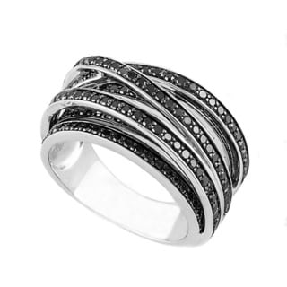 Beverly Hills Charm Sterling Silver 1ct TDW Black Diamond Crossover Ring