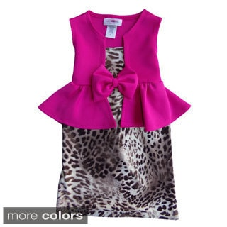 Girls Leopard-print Peplum Dress
