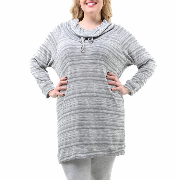 24/7 Comfort Apparel Women's Plus Size Oversized Striped Tunic Top