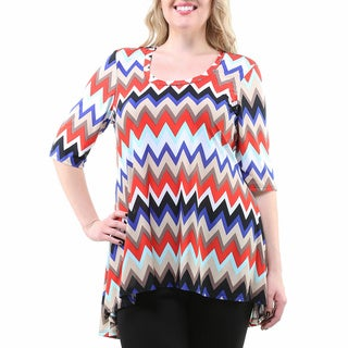 24/7 Comfort Apparel Women's Plus Size Chevron Print High-low Tunic