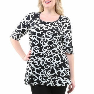 24/7 Comfort Apparel Women's Plus Size Black/ White Swirl Print Elbow Sleeve Tunic