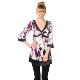 Cotton Express Junior's 3/4-sleeve Black/ Purple Pucci Print Top