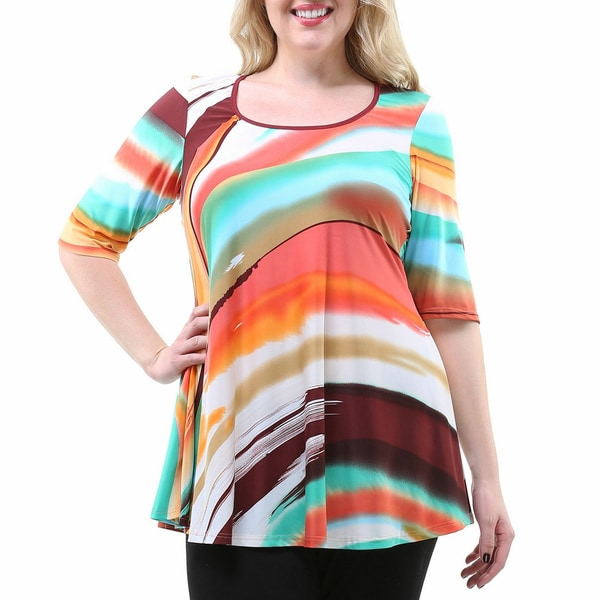 24/7 Comfort Apparel Women's Plus Size Multicolored 3/4 Sleeve Tunic
