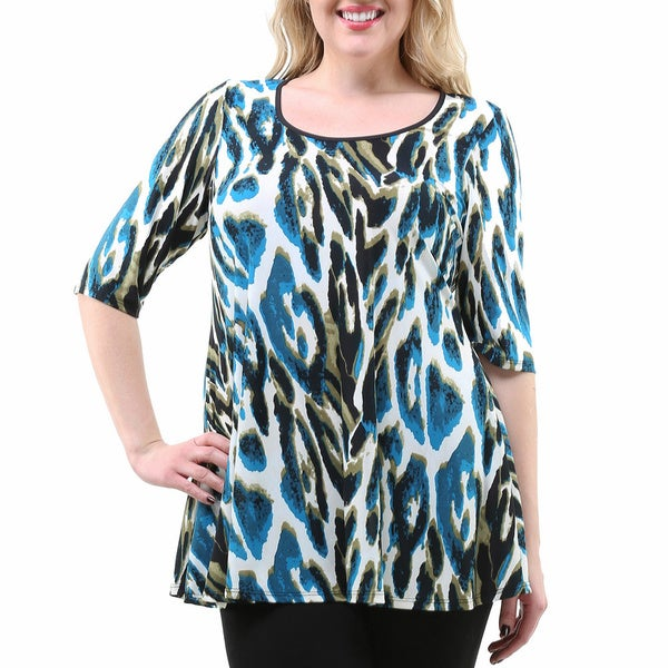 24/7 Comfort Apparel Women's Plus Size Abstract Print Elbow Sleeve Tunic