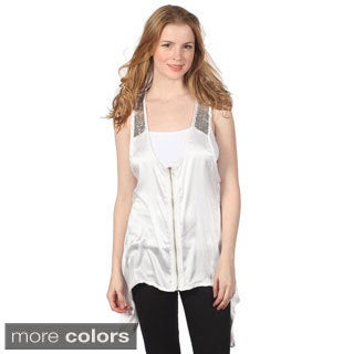 Cotton Express Junior's Zip-front Sequined Satin Top