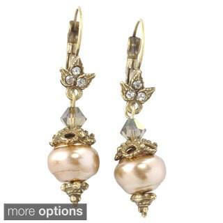 Sweet Romance Pewter Baroque Pearl/ Crystal Earrings