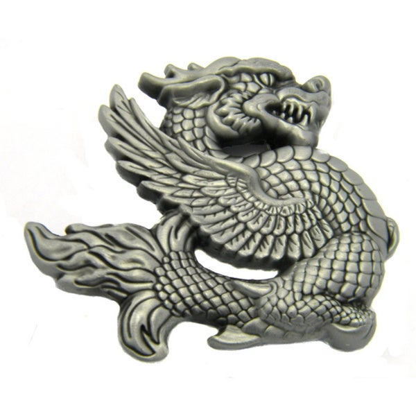 Silvertone Dragon Belt Buckle and Optional Belt