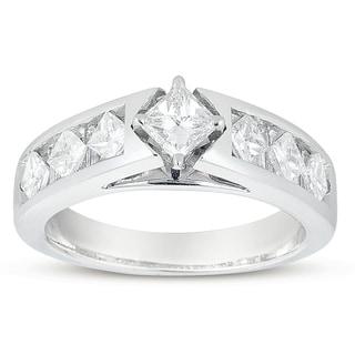 Eloquence 14k White Gold 1 1/2ct TDW Princess-cut Diamond Engagement Ring (H-I, I1-I2)