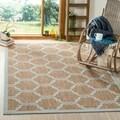 Safavieh Indoor/ Outdoor Moroccan Courtyard Brown/ Aqua Rug (8' x 11')
