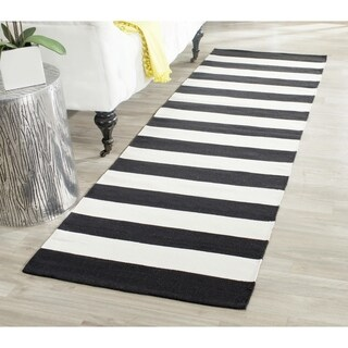 Safavieh Hand-woven Montauk Black/ White Cotton Rug (2'3 x 7')