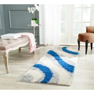 Safavieh Shag Grey/ Blue Rug (2'3 x 7')