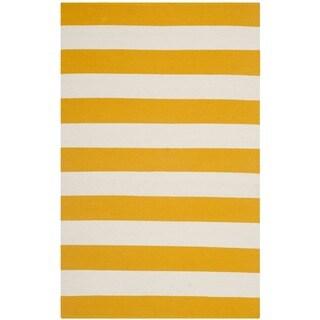 Safavieh Hand-woven Montauk Yellow/ White Cotton Rug (2'6 x 4')