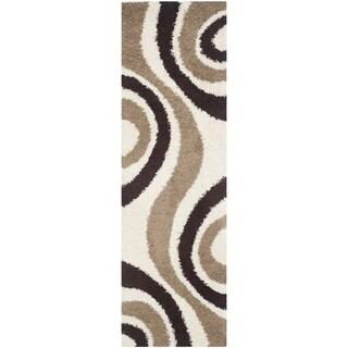 Safavieh Shag Ivory/ Brown Rug (2'3 x 7')