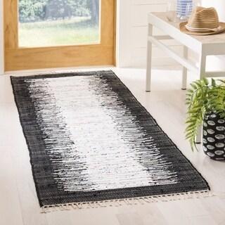 Safavieh Hand-woven Montauk Ivory/ Black Cotton Rug (2'3 x 7')