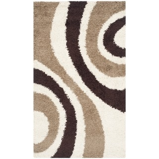 Safavieh Shag Ivory/ Brown Rug (3' x 5')