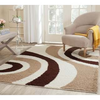 Safavieh Shag Ivory/ Brown Rug (4' x 6')