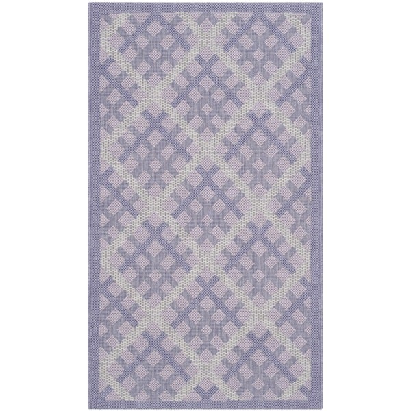 Safavieh Indoor/ Outdoor Courtyard Lilac/ Dark Lilac Rug (2'7 x 5')
