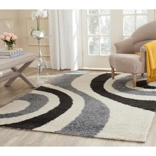 Safavieh Shag Ivory/ Grey Rug (8' x 10')