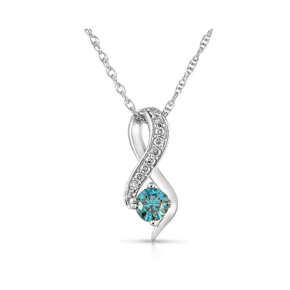 Overstock.com Eloquence 10k White Gold 1/2ct TDW Blue/ White Diamond Journey Necklace (H-I, I1-I2) at Sears.com