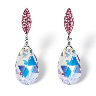 PalmBeach Jewelry Silvertone Aurora Borealis Crystal Earrings made with Swarovski Elements Color Fun